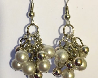 Silver earrings / dangle / White pearls and silver beads /