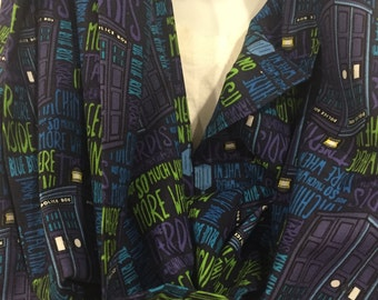 Doctor Who Bigger On The Inside Cotton Fabric Handmade Infinity Scarf