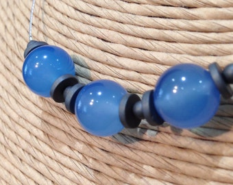 Blue agate and hematite necklace