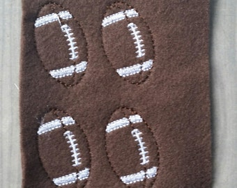 Football felties - Sheet of 4 Football Felties - Sports - Felties -Embroidered Felt Appliques - Hair Bow Centers