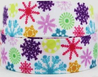 "7/8"" Rainbow Snowflakes Grosgrain Ribbon BY THE YARD"