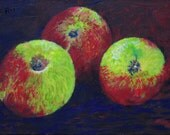 """Three Apples  008,       An Original painting by Tony Taylor,    9"""" x 6"""""""