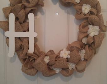 Burlap White Flower Wire Wreath