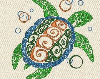 Turtle  machine embroidery designs 2 Sizes