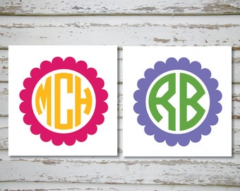 Unique scallop monogram related items Etsy