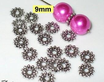 20 beads 9 x 1, 5mm silver Daisy (103.9)