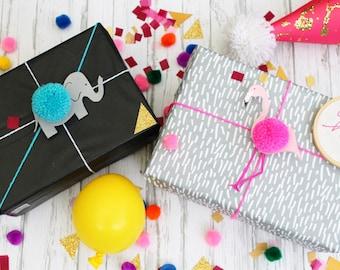 Flamingo / Elephant Pom Pom Gift Tags | Birthday/ Baby Shower Gift Tags
