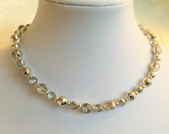 Silver Faceted Glass Beaded Necklace #330