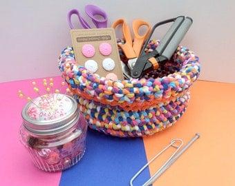 Crochet basket – multi/orange