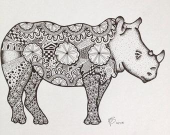 Zentangle Rhino