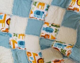 Lions! Tigers! Giraffes! Elephants! Blue Rag Quilt