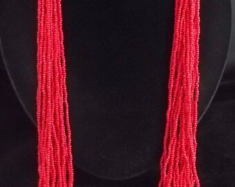 Southwest Red Coral Glass Seed Bead Necklace TWENTY STRAND