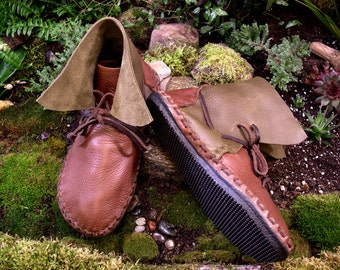 Leather Moccasins Hand Made Durable Moccasins Handmade Leather Shoes Rubber Sole Moccasins Hiking Moccasins Comfortable Moccasins Elf Boots