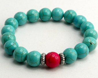 Friendship Bracelet with 10mm Howlite Beads