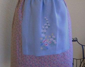 Handmade Half Apron with Upcycled Vintage Tea Towel