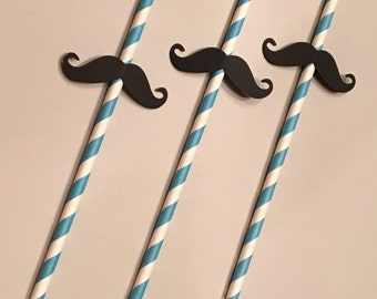 12 Mustache Straws Black and Blue Straws Baby Shower Straws Wedding Shower Straws Birthday Straws Boy Straws