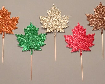 12 Maple Leaf Cupcake Toppers Thanksgiving Cupcake Toppers Fall Cupcake  Toppers Birthday Cupcake Toppers Wedding Cupcake Toppers Autumn