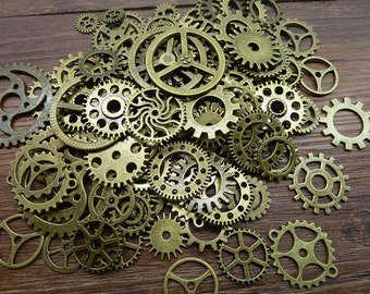 BULK 100 Mixed Bronze Steampunk Gear Charms Clockwork Cog Wheel Gearwheel Mechanical Watch Gear Clock Parts Decoration