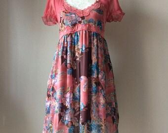 Vintage mini dress with lace detail, chiffon dress, vintage dress,