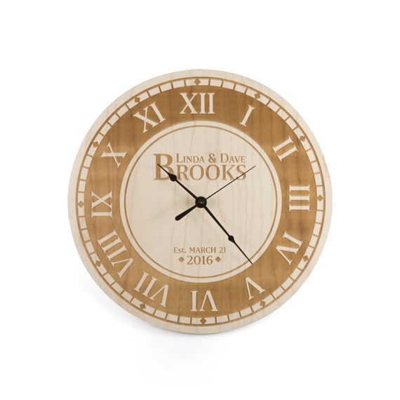 Custom Wedding Gift Large Wall Clock Wood Roman Numeral Clock ...