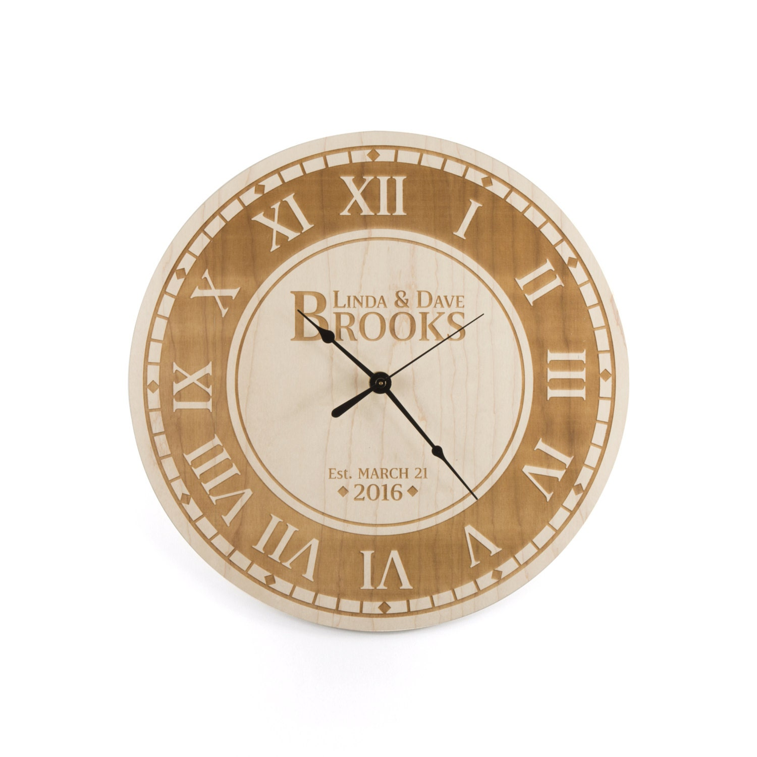 Custom Wedding Gift Large Wall Clock Wood Roman Numeral Clock