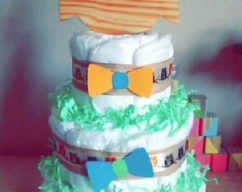 3 tier owl diaper cake