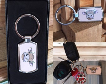 Cow Keychain, 'Legendairy' Metal Key Ring Gift