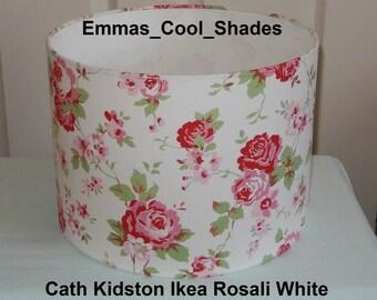 Handmade Lampshade - Cath Kidston Rosali White Fabric - Drum Bespoke Bedroom Roses Flowers Sale