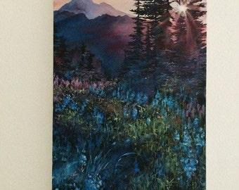 Acrylic Mountain Sunset Painting