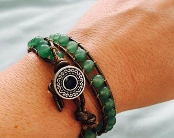 Aventurine double wrap bracelet