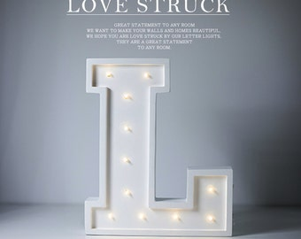 Letter L Lights Wooden marquee letter light. wooden letter lamp. Any letter sign lights for kids in stock