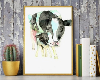 Cow painting,Cow art, Cow print,Cow watercolor painting,Holstein cow, painting cow,black and white cow,Cow and calf,Modern cow,farm art