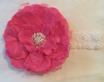 Bright Pink Extra Large 5 Inch Flower Headband - Lace Peony Flower with Pearl or Rhinestone Center on Lace Headband