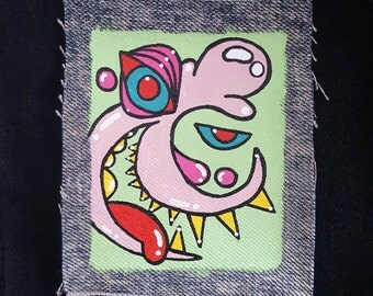 Sharp Tooth Guy Hand Painted Denim Patch