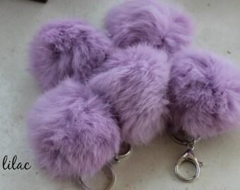 LILAC - Faux Fur Puff Key Ring - Lobster Clasp - Silver Metal