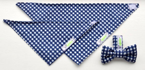 Navy Blue & White Gingham Pet Bandnana's (velcro/tie fit) and Bowties