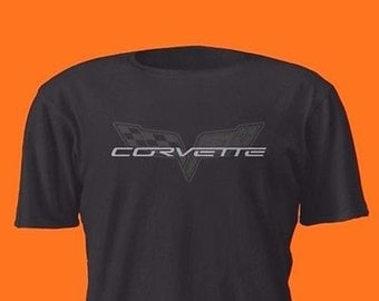 Chevrolet Corvette Silver On Black Shirt Ls1 Ls2 Ls3 Ls7 Ls9 Z06 C6 Lsx V8