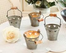 Mini Heart Tealight Bucket, Zinc Tea Light Holder, Wedding Decor