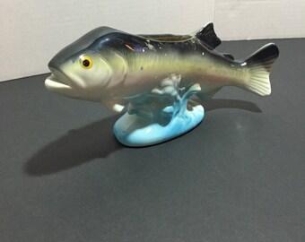 Vintage Bass Fish Mid-Century Modern Planter