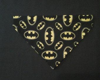 Reversible over the collar or Tie on bandana, Batman bandana, Dog bandana, pet clothes , puppy bandana, comic bandana, heros
