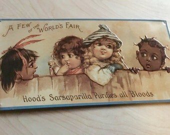 Vintage Metal World's Fair Hood's Sarsaparilla Purifies All Bloods Ad, Advertising Signs, Home Decor, Black Art