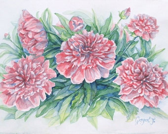 Gentle Peonies - Original Watercolor Painting, Pink Flowers Painting, Floral Painting Wall Decor