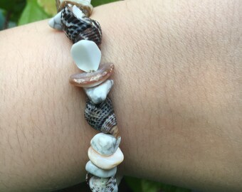Beach Stone and Shell Bracelet - Relaxed Vacation Casual Shore Sailing Natural Tide Pool Cabin Summer