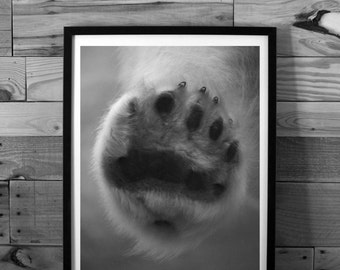Polar bear photography, animal photography, paw, close-up, macro, black and white photography, instant download, printable art, wall art