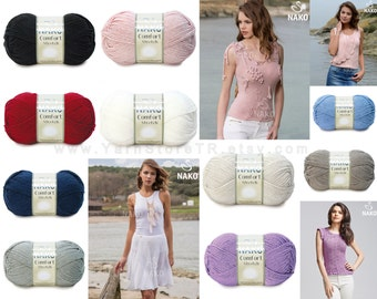Premium Micro Acrylic Strectch Yarn Knitting Crochetting by Nako Comfort Stretch 50gr 193m, 10 Colors, Blouse, Bikini, Short, Headband