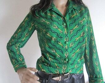 True vintage 60s Jersey designer blouse blouse avant-garde S
