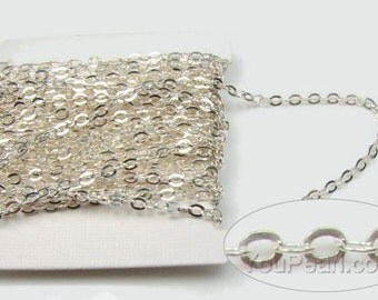 925 sterling silver cable chain, oval cable chain, flat cable chain, silver chain findings, chain link necklace, 1 foot, SC2020