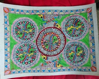Indian Madhubani Fish handmade Painting