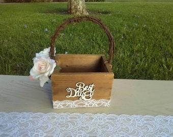 Rustic Chic Flower Girl Basket, Bridal Shower Gift, Gift for Flower Girl
