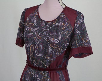 Vintage Maroon Paisley Boho Pleated Skirt Dress Size M/L